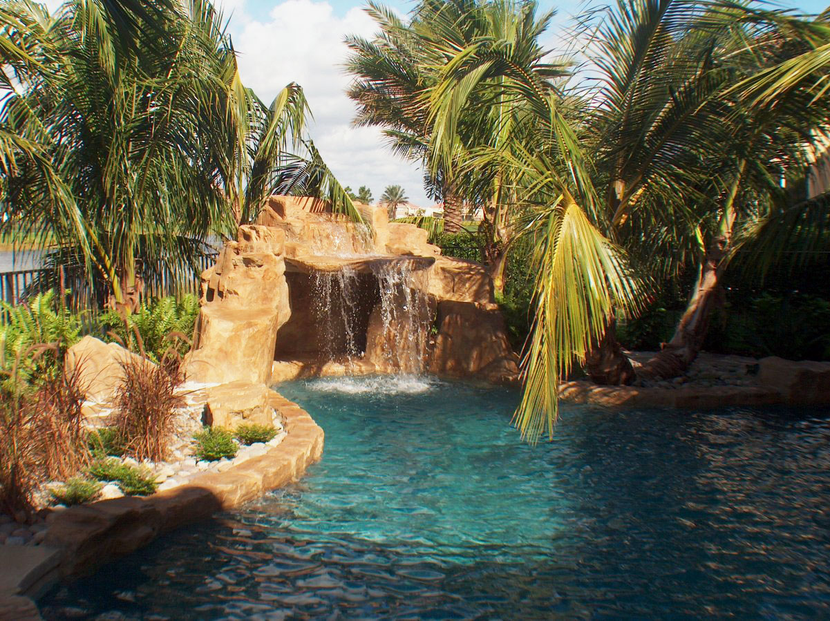 Luxury Swimming Pools With Waterfalls pool waterfalls - allstate pool & spas